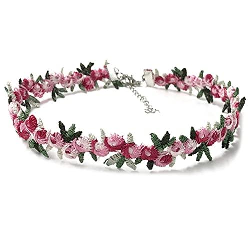 QIN Boho Flor encantos Chian Collar Gargantilla Collares para Mujer niña Collares Harajuku Bohemio Lindo Flor Tela Encaje joyería