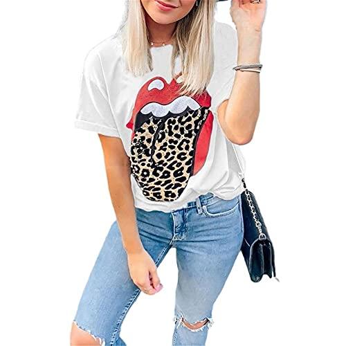 Manga Corta Mujer Personalidad Moda Verano Cuello Redondo Mujer Blusa Único Pautas Labios Diseño Mujer Tops Diario Casual Transpirable All-Match Mujer T-Shirts C-White XL