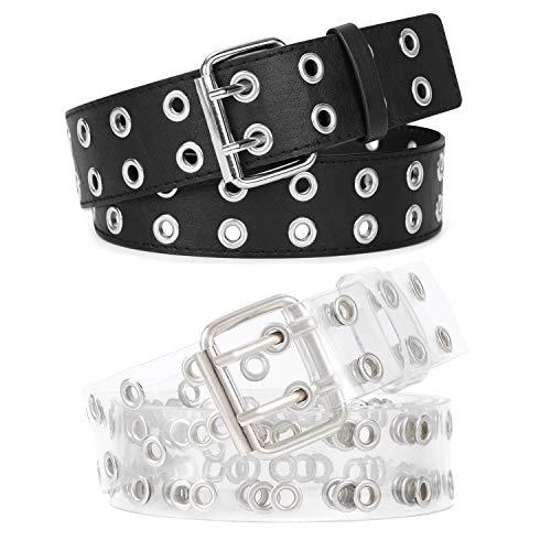 Cinturón de piel sintética de poliuretano con doble ojal, 2 unidades, para mujer y hombre, estilo punk de metal, 2 agujeros, ancho 1.5 pulgadas 02-negro + transparente S/pantalones 56/89 cm