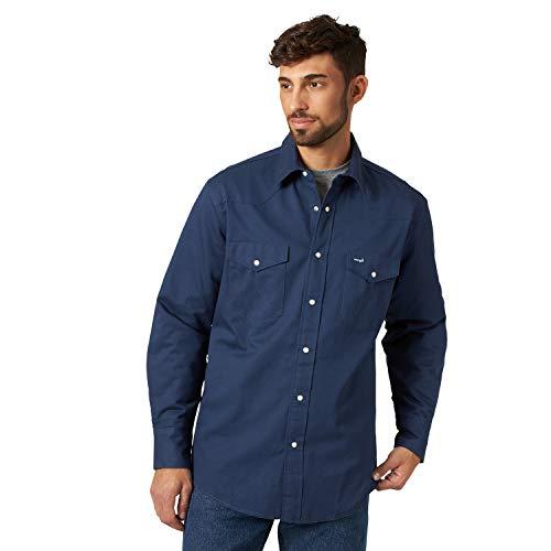 Wrangler Men's Flannel Lined Work Shirt, Navy, XXL
