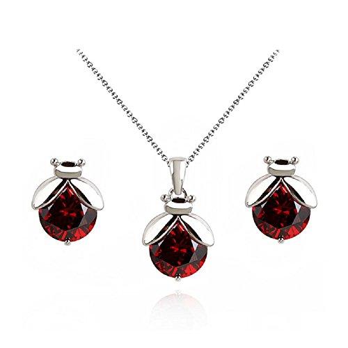 Coccinelle Rosso Cristalli austriaci di zirconi Purare Collana con ciondolo Orecchini a lobo 18 kt placcato oro bianco per donne