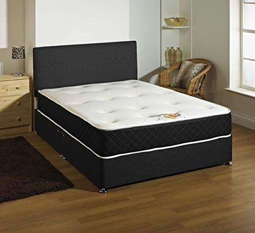 Comfort Night Sleep Ltd's Reliable Divan Bed Set with Memory foam Mattress and Headboard with 2 Drawers in Black color | Double | 4Ft6 | Queen |
