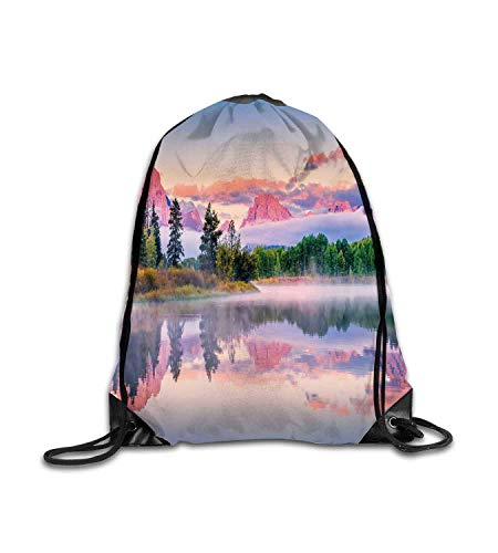 huatongxin Customized Backpack Wyoming Colorful Sunrise on Calm Water of Snake River with Sweet Tone Peaks Clouds Multicolor Fitness Beam Backpack, Sports Backpack, School Bag