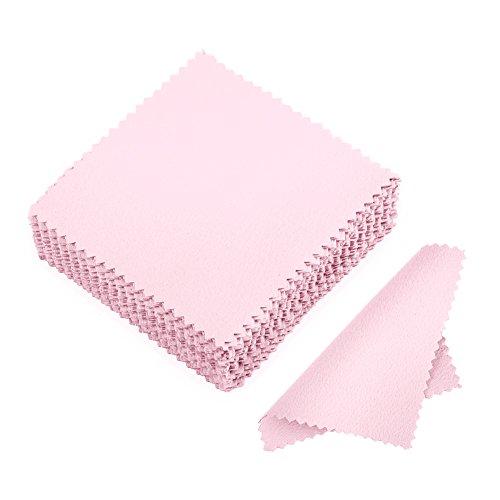JuanYa 50 Stücke Schmuck Reinigungstuch, Poliertuch für Sterling Silber Gold Platin, Rosa