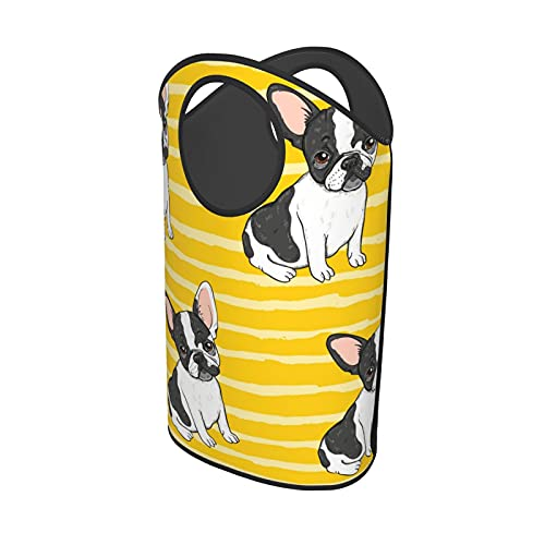 Cute French Bulldogs On Yellow Stripes Background Large Laundry Basket, Collapsible Fabric Laundry Hamper, Waterproof Tall Foldable Laundry Storage Bin for Bedroom, Laundry Room, Bathroom, College