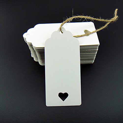 Stonges 100pcs White Kraft Paper Tag Blank for Wedding Favour Cards,Gift Tag,DIY Tag,Luggage Tag,Price Label,Store Hang Tag (100) with heart