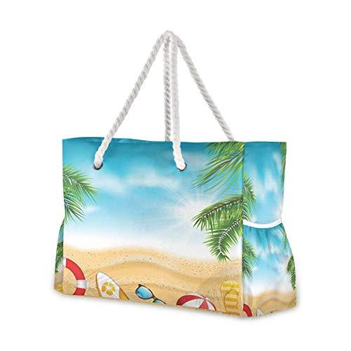 Bolsas de playa grandes Totes de lona, bolsa de hombro, hermosa bandera con hojas de palma, bola de playa, flip-flops tabla de surf, bolsas resistentes al agua, para gimnasio, viajes diarios