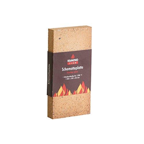 Kamino Flam –  Plancha chamota, Panel aislante – Resistente a altas temperaturas hasta 1250°C, 250 x 124 x 30 mm
