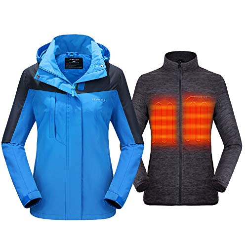 Venustas Women's 3-in-1 Heated Jacket with Battery Pack 5V,Ski Jacket Winter Jacket with Removable Hood Waterproof Blue