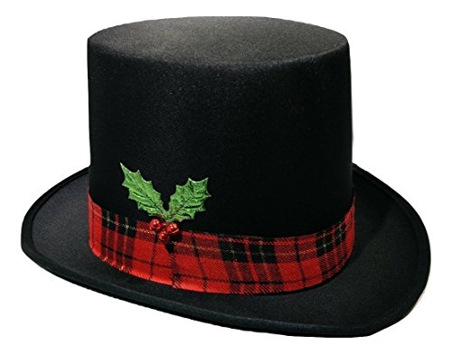 Snowman Top Hat with Plaid Band Holly and Berries, Multi, One Size Black