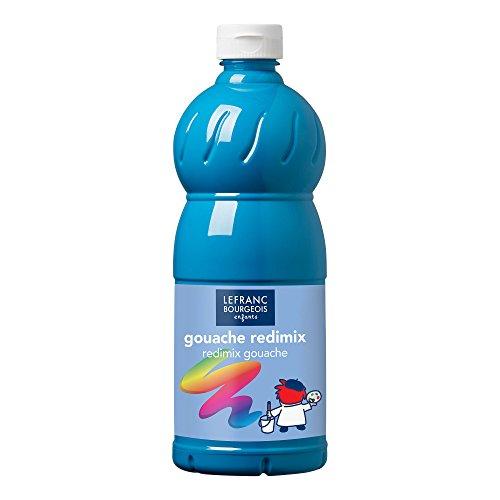 Lefranc Bourgeois - Gouache Liquide Redimix pour Enfants - Bouteille 1L - Bleu Turquoise