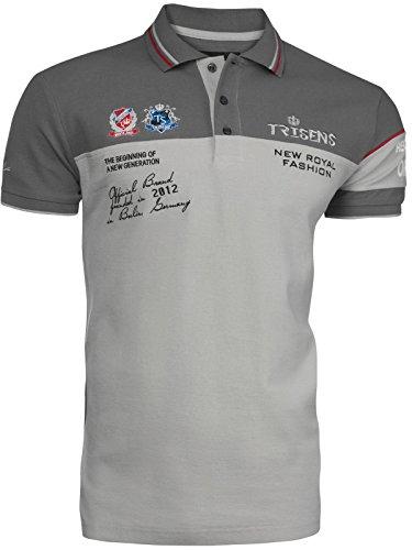 Trisens Herren Sommer Poloshirt T-Shirt Hemd Stickerei Baumwolle Party Polohemd, Größe:M, Farbe:Dunkelgrau/Grau