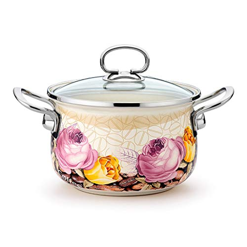 Soup pot Enamel Pot Soup Pot Home Pasta Stew Soup Casserole Dish with Lid soup pot quart (Color : A)