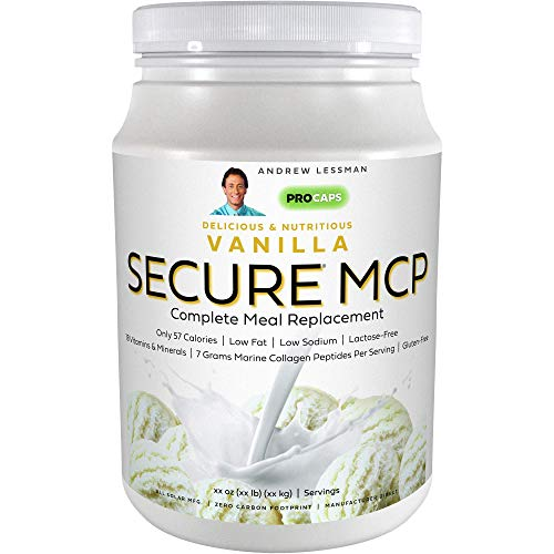 Andrew Lessman Secure MCP Complete Meal Replacement - Vanilla 60 Servings – Only 57 Calories, Low-Fat, 7 Grams Marine Collagen Peptides, Promotes Radiant Smooth Soft Skin, Comfortable Joints