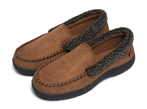 FOOTTECH Mens House Slippers Memory Foam Loafers for...