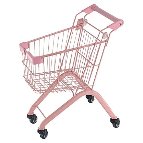 WHL Carrito de la Compra de Juguetes para niños y Camarera de la Compra de Easy Storage Metal Frame con Ruedas Rolling Compras de la Compra (Color : Pink)
