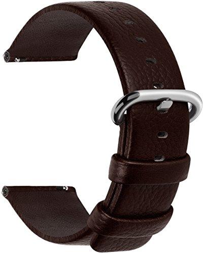 Fullmosa Uhrenarmband 20mm Leder in 12 Farben, Kalbsleder Armband für Damen Heren Lederarmband mit Edelstahl Metall Schließe, 20mm,Dunkelbraun