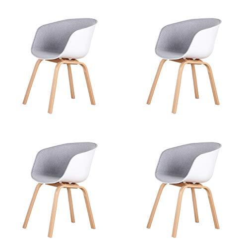 Un conjunto de cuatro sillas de comedor estilo escandinavo retro con patas de metal, adecuadas para sala de estar, dormitorio, varios lugares de entretenimiento (gris claro).