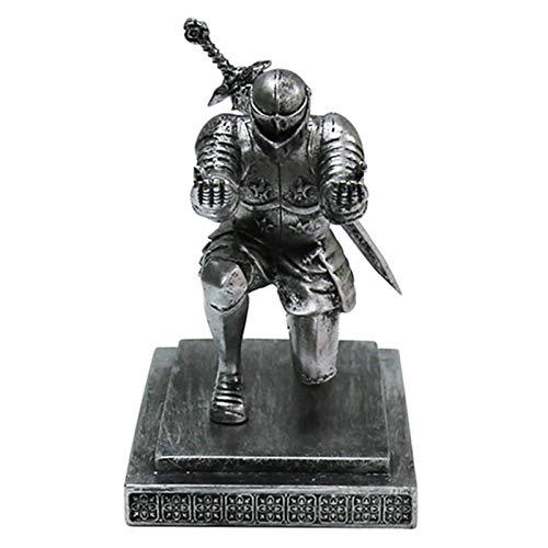 lefeindgdi Armour Knight - Soporte para bolígrafo, accesorios para espada en posición de rodilla, diseño medieval, diseño de caballero de armadura con espada accesorio para oficina