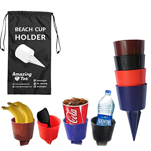 Sand Drink Holder | Beach Cup Holders | Sand Coaster | Perfectly Sized Beverage Holder For Beach, Garden, Picnics & Parties - Holds Drinks, Phone, Keys and Small Items in Sand & Grass - Patent Pending