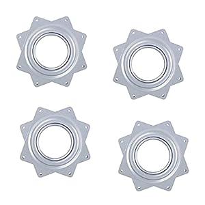 4 Piezas Placa Giratoria, 360 Grados Rodamiento, Totalmente Galvanizado, con Rodamientos de Bolas, Alta Flexibilidad, Utilizado en Estantes de Exhibición, Zapateros Giratorios etc(Plata)