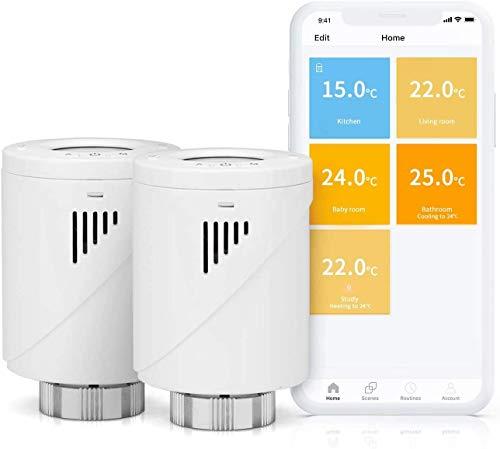 Smart Heizkörperthermostat, Meross WLAN Thermostat mit LED-Display, Smart Thermostat Kompatibel mit Alexa, Google Assistant und IFTTT, Weiß, 2pcs