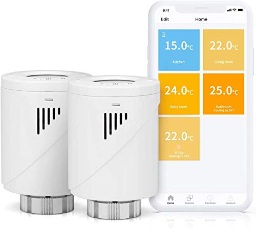 Smart Heizkörperthermostat, Meross WLAN Thermostat mit LED-Display, Smart Thermostat Kompatibel mit Alexa, Google Assistant und IFTTT, Weiß, 2pcs