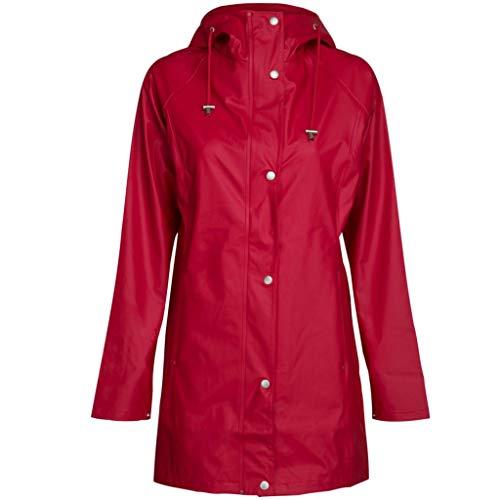 Ilse Jacobsen Leichter Damen Mantel | Regenjacke mit Kapuze und verstellbaren Ärmeln | Polyester mit Gummi Überzug | wasserdicht Winddicht | RAIN87 Rot 42