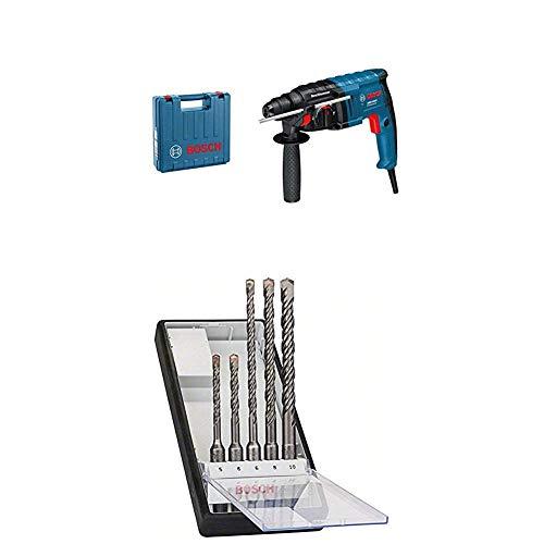 Bosch Professional Bohrhammer GBH 2-20 D (650 Watt, Bohr-Ø Beton max: 20 mm, SDS-plus, im Koffer)+Bosch Pro 5tlg. Hammerbohrer-Set SDS-Plus-5