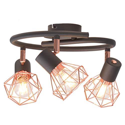 vidaXL Deckenleuchte mit 3 Strahlern Deckenlampe Deckenstrahler Deckenspot Spot Lampe Leuchte Strahler Wohnzimmer E14 Schwarz Kupfer