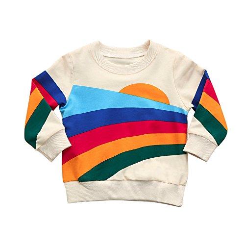 Mamum Blouse bébé Fille Pull-Over Longue Manche Enfant Fille Top Blousons Vêtement Motif Mignon Casual Automne Printemps Rayée Sweat-Shirt (90(12Mois))