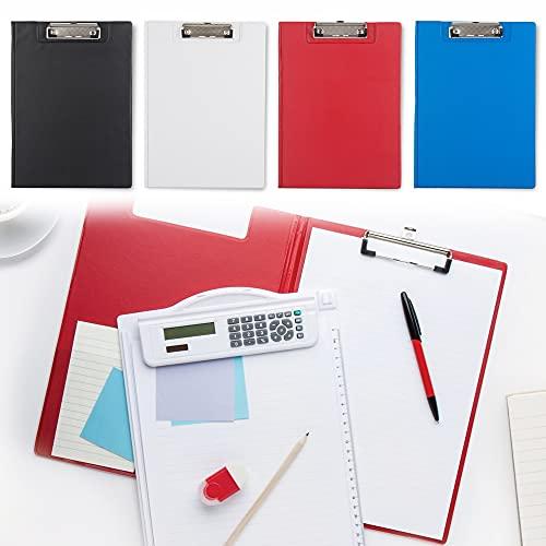 Antevia – Juego de 4 escritorios portadocumentos A4 con bolsillo interior, más de 10 modelos, portabloques, pinzas, perfil bajo, color de las tablas: blanco, rojo, azul y negro (clásico)