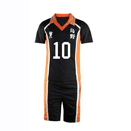 SHANGLY Hinata Shoyo Cosplay Disfraz No.10 Jersey de Voleibol Ropa de Deporte Anime Haikyuu Uniforme de Secundaria,M