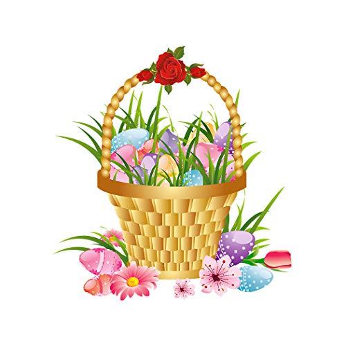 SpringFlower Muursticker Mand met Pasen Ei en Bloem Zon Decoratie Art Print Decoratie Poster Ontwerp Modern muurschildering aangepast product voor Woonkamer, Lijm Materiaal
