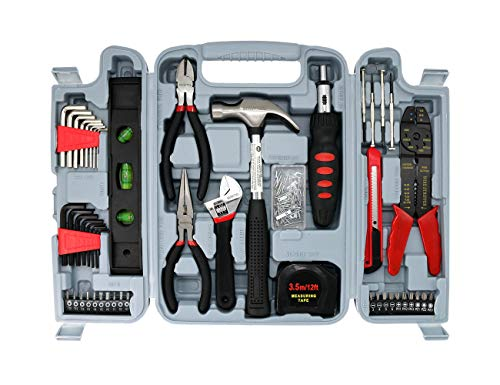 Hand Tool Kit Household Repair Tools-SAVWAY TOOL DIY Tool Set H4001A Hardware Toolbox 130pc Combo Kit Red and Black Toolbox Building Kits