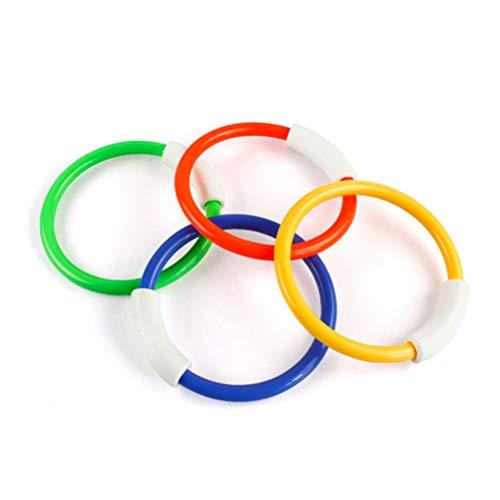HenTuha Juguetes de Buceo,Juego acuático Aros 4 Colores, Juegos Piscina para Niños Conjuntos de Juguetes Natación Subacuática Juegos de Agua en Verano para Niños