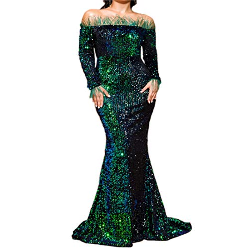 Women Off Shoulder Feather Long Sleeve Floor Length Evening Party Sequin Maxi Dress (X-Large, Green)
