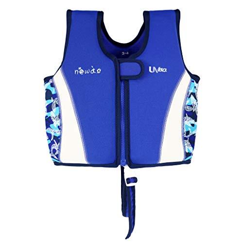 OldPAPA Giubbotto da Nuoto per Bambini, Gilet da Nuoto Bimbo con Cinturino sul Cavallo Neoprene Giubbotto Galleggiante per Ragazze Ragazzi(Blu Bianco M)