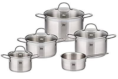 ELO Top Collection Stainless Steel Kitchen Induction Cookware Pots and Pans Set with Shock Resistant Glass Lids and Integrated Measuring Scale