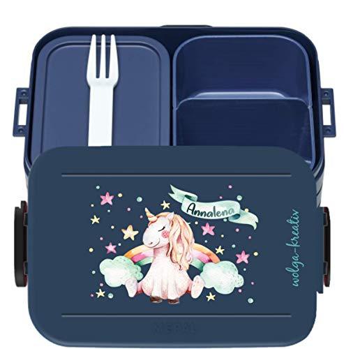 wolga-kreativ Brotdose Einhorn Regenbogen Mepal Obsteinsatz für Mädchen Lunchbox Bento Box personalisiert Brotbüchse Brotdosen mit Namen Kindergarten Schule