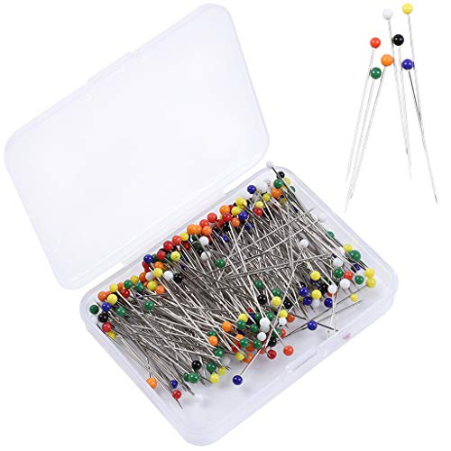 Sukmax Glass Head Pins,38mm Multicolor Straight Glass Ball Pins for Crafting Dressmaking Sewing Projects Flower Decoration,250 Pieces