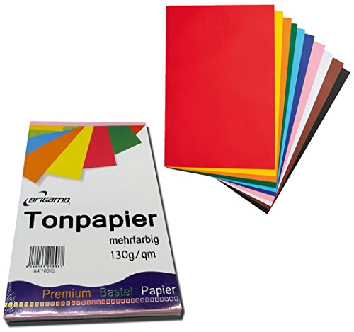 Brigamo 200 Blatt Tonpapier Bastelpapier A4 Farbig Sortiert 130 g / qm