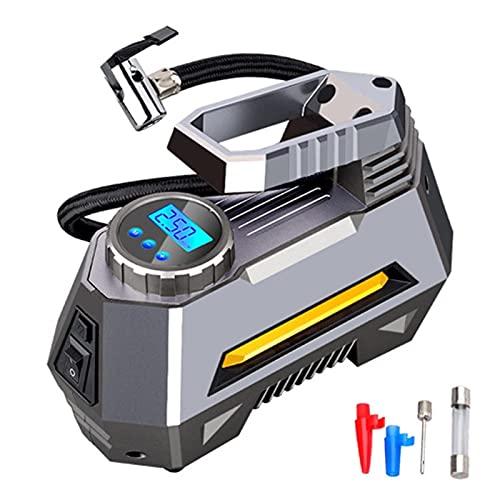 Ymgm Bomba de neumáticos del neumático del neumático del compresor de Aire portátil-30-cilindro con Calibre de presión Digital (150 PSI 12V DC) Linterna de Emergencia Brillante