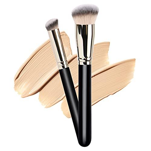 Dpolla Makeup Brush with 1PCS Round Slanted Foundation Brush and 1PCS Mini Angled Concealer Brush Flat Top Kabuki Nose Contour Brush Perfect for Blending Liquid,Buffing,Cream,Sculpting,Mineral Makeup
