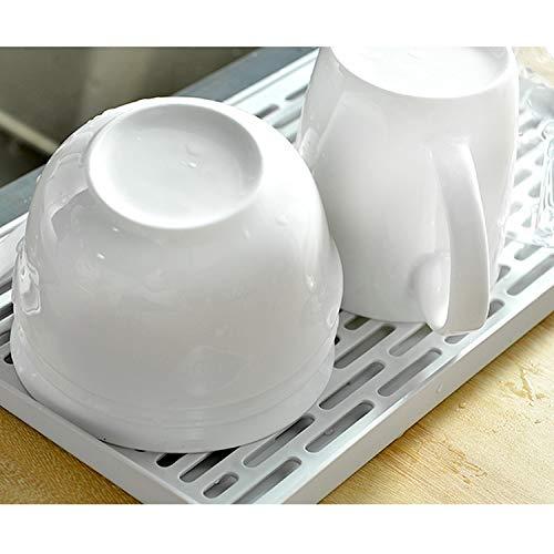 Vanly 水切りトレイ+プレート 2サイズ お茶碗トレー グラスプレート マグカップパレット 水が流れる 乾燥 省スペース キッチン収納 食器水切り ドライスタンド (30x17.5cm, グリーン・ホワイト)