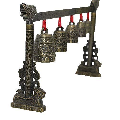 ZHIBO Gong meditación con 5 campanas ornamentadas con diseño de dragón instrumento...