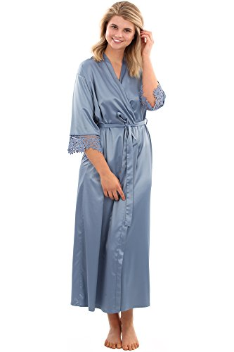 VEAMI Clementine Lace Satin Robe, Lightweight Robe for Women, Long- Mayan Blue- Large