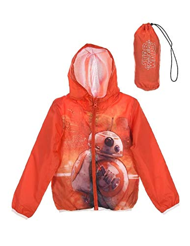 Star Wars Veste à Capuche imperméable avec Sacoche Enfant BB-8 Orange de 4 à 10ans - Orange, 6 Ans