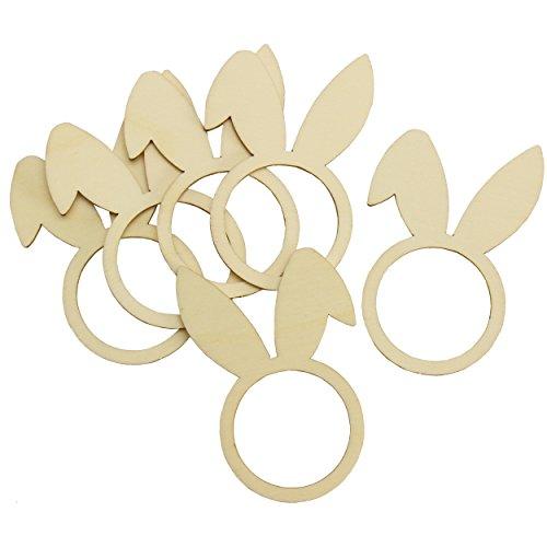 trendmarkt24 Serviettenringe Hasenohren 6er Pack ca. 6x8,5 cm Holz-Ringe gelasert Sperrholz Lochgröße ca. 3,9 cm Servietten-Zubehör Ostern Serviettenhalter-Set blanko zum Bemalen Osterzeit | 434557