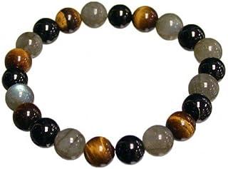 Bracelet protection: oeil de tigre, labradorite, tourmaline noire (boules 8mm)